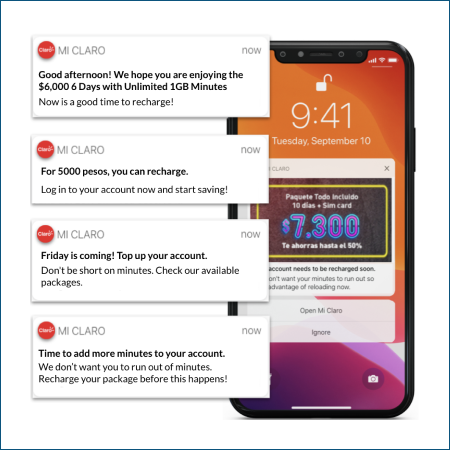 Claro phone with 4 different push notification examples and text