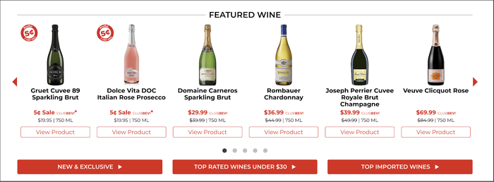 Web carousel of BevMo!'s Featured Wines